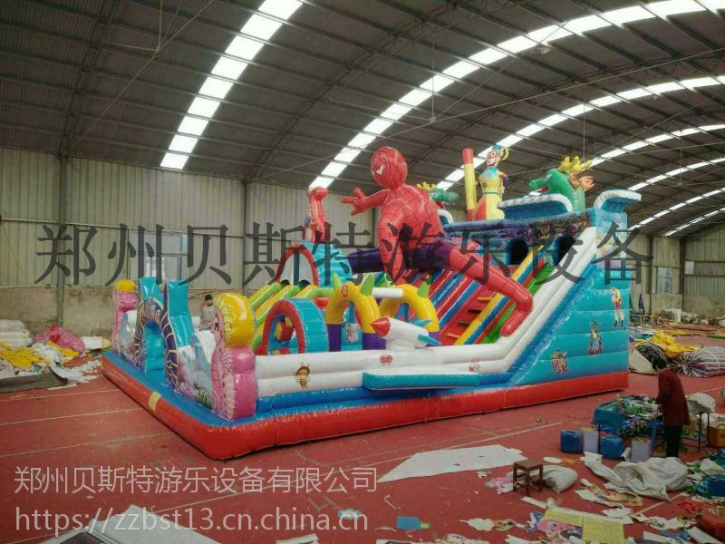 新乡延津县儿童充气滑梯新款蜘蛛侠