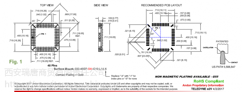 ANDON图像传感器插座680-48SP-SM-G10-X14-0匹配CMOS,EV76C661