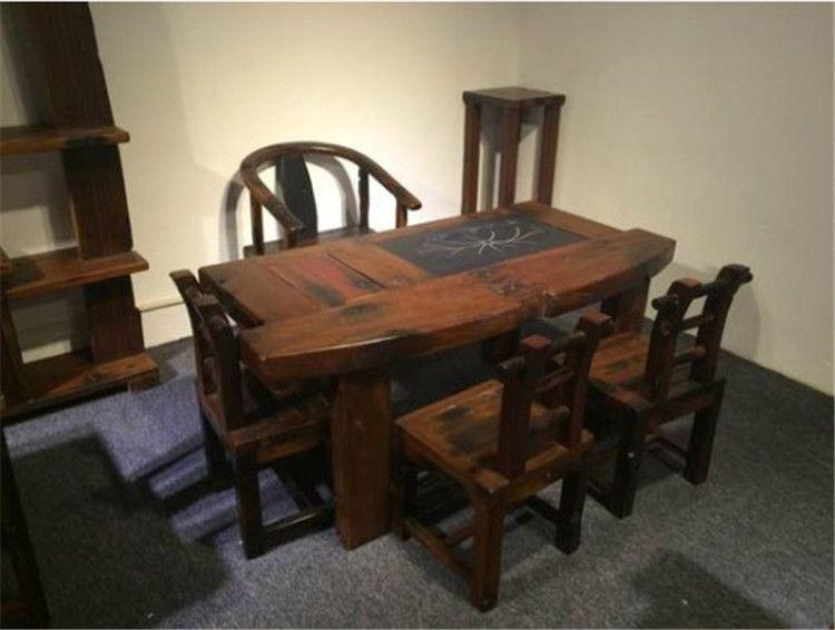 供应老船木功夫茶桌 船木古典茶台 船木泡茶桌椅组合