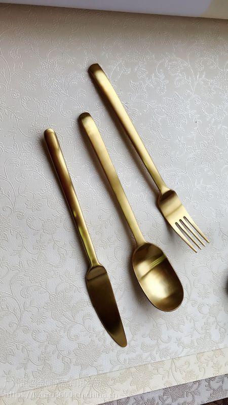 304不锈钢拉丝牛排刀叉勺西餐套装葡萄牙餐具套装