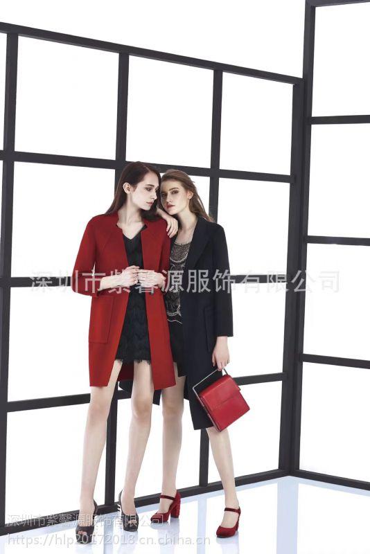 品牌女装尾货货源 北京一线品牌慧之芳山羊绒大衣 欧美 简约高端女装走份批发