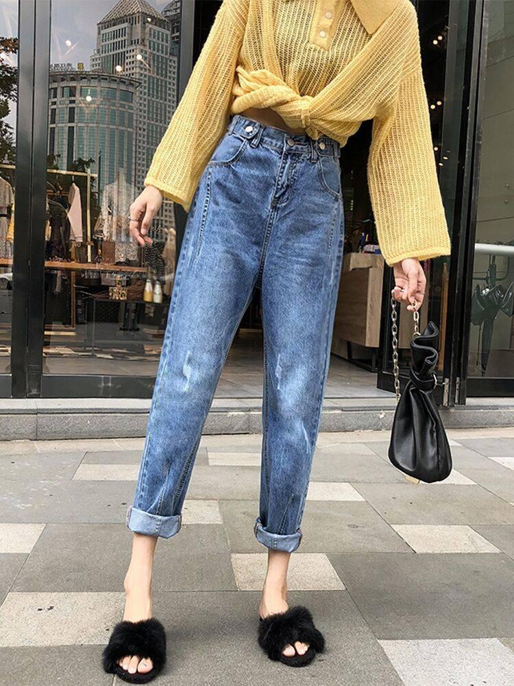 广州服装厂家直销2018新款女装牛仔裤批发低价破洞韩版牛仔裤甩卖女装服装平价批发