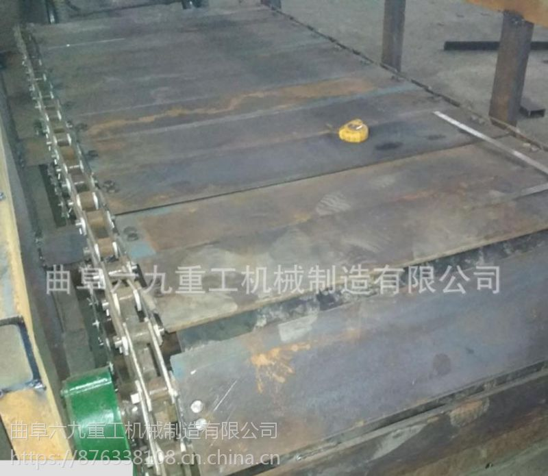 六九重工 湖州 铸件传送机 链板式输送设备 烧红高温物件输送 板链输送机