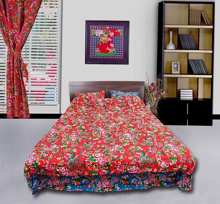 东北大花布被套四件套_东北大花布四件套/床品套件/床上用品/被套:凤凰牡丹红蓝两面