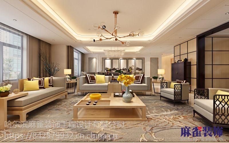 大都会新天地160㎡-新中式风格-哈尔滨麻雀装饰