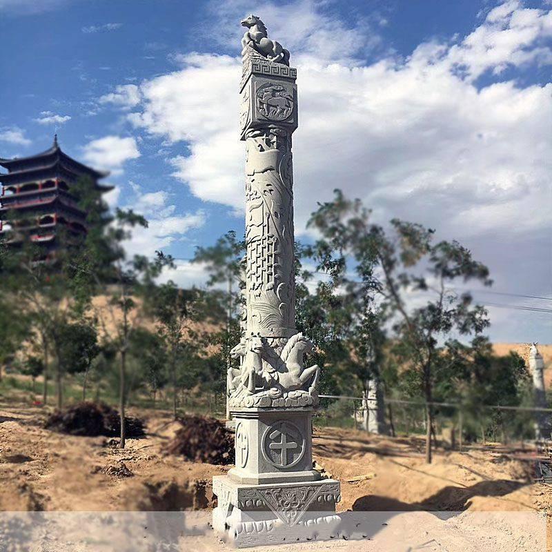 石雕文化柱十二生肖文化柱大理石盘龙柱华表小区广场动物石柱子摆件曲阳万洋雕刻厂家定做