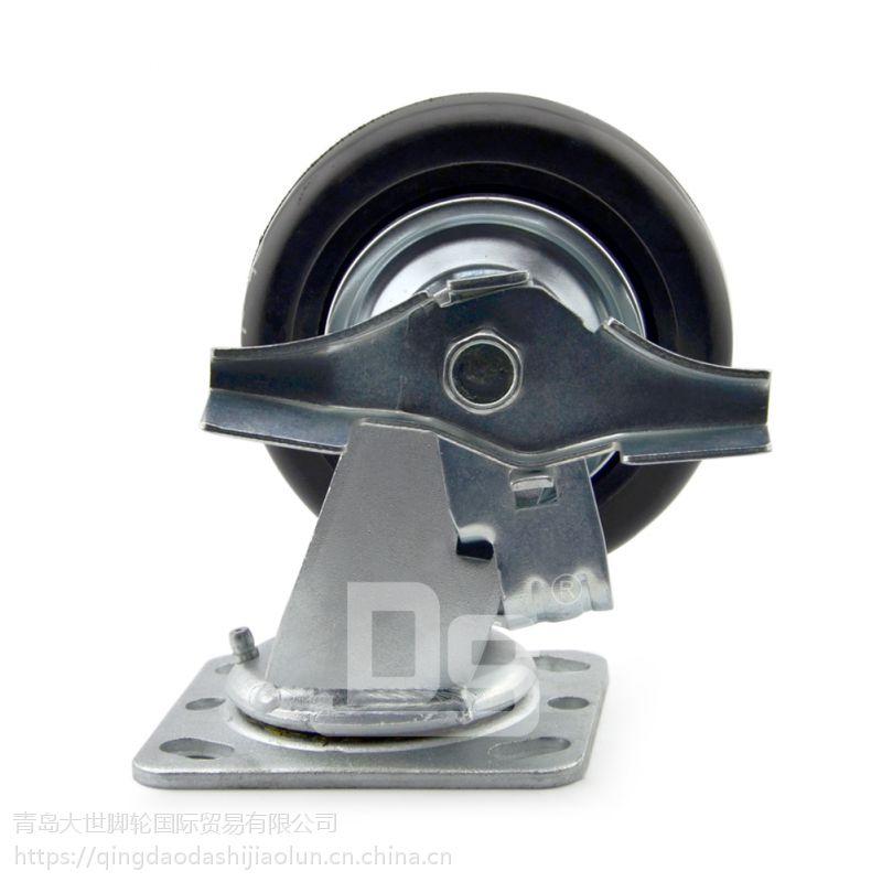 青岛大世脚轮 多尺寸高弹力铸铁铁芯橡胶轮 静音耐磨耗