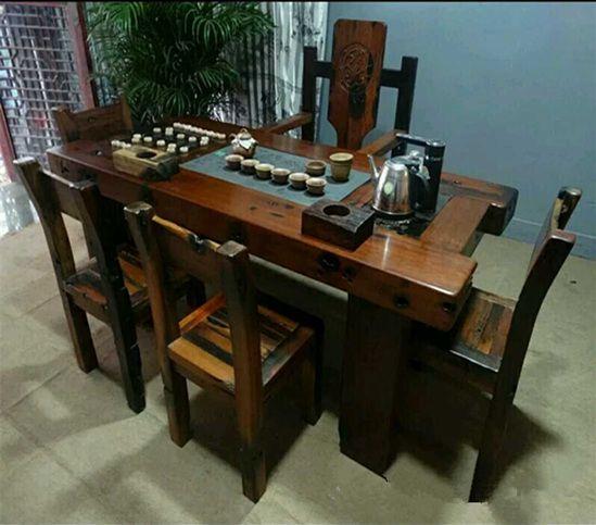 供应老船木家具 实木仿古功夫茶几 船木茶桌椅组合
