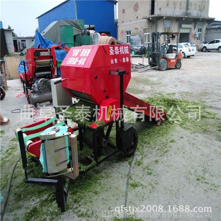 圣泰机械 半自动牧草青贮打捆包膜机 青贮饲料打包机