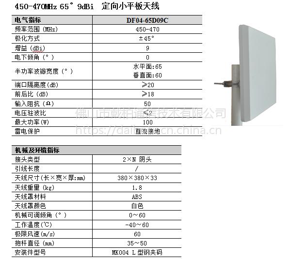 DF04-65D09C ±45°双极化定向平板 VHF/UHF天线