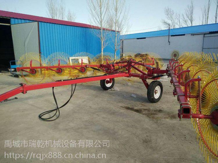禹城市瑞乾机械设备有限公司供应液压牵引式12个盘的搂草机,牧草牵引式指盘搂草机