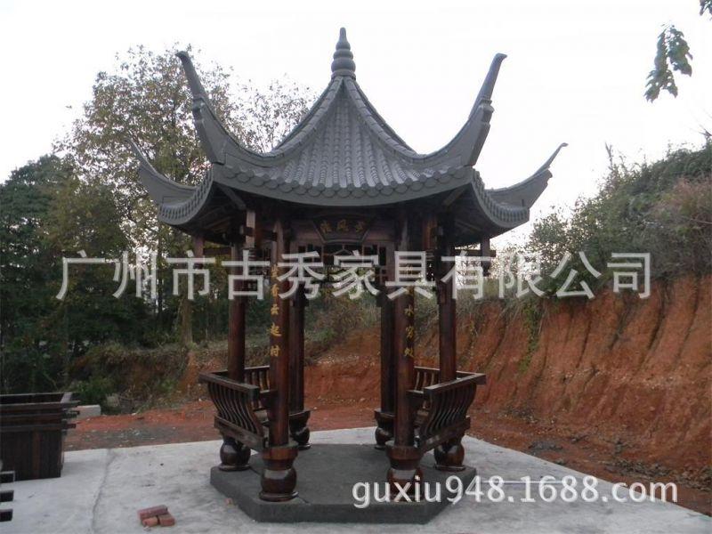公园中式古建木制六角凉亭,飞檐翘角古代风格木亭子,