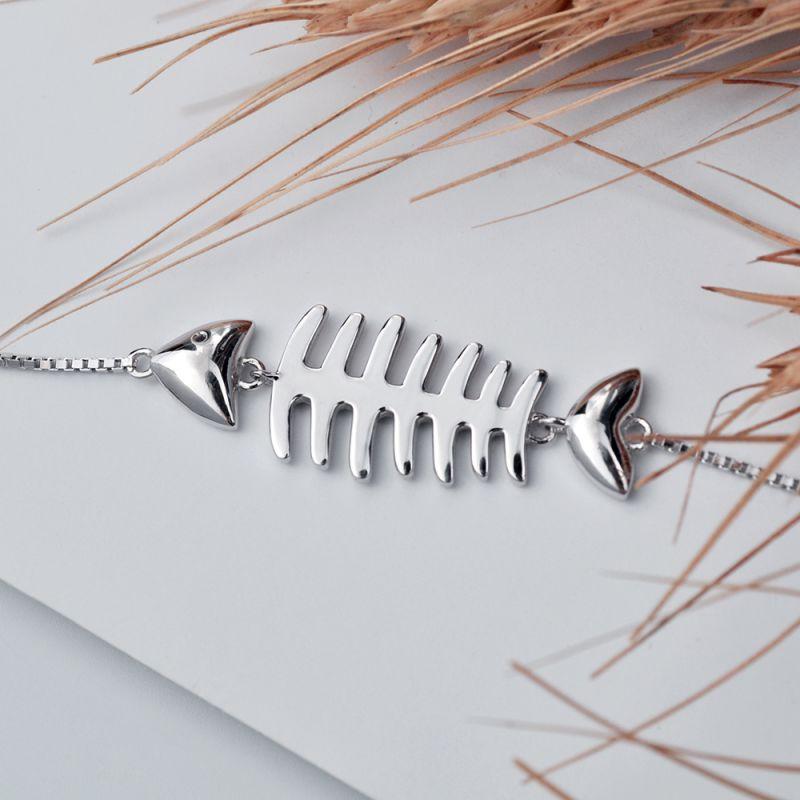 黛丹外贸新款s925纯银时尚个性鱼骨手链女 日韩时尚银首饰品定制