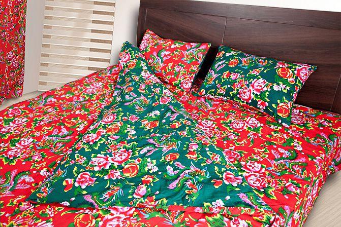 东北大花布被套四件套_东北大花布四件套 床品套件床上用品全棉被套 凤凰牡丹红绿两面
