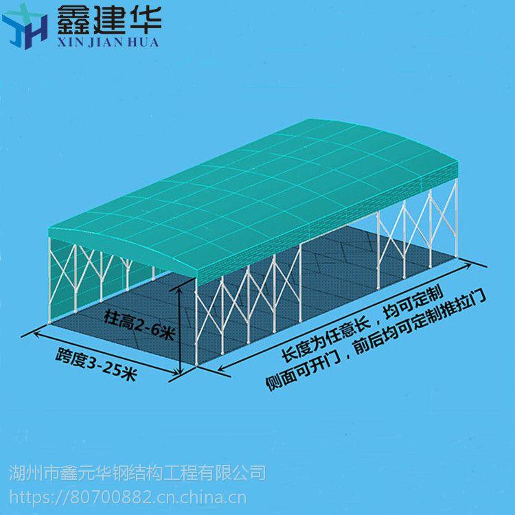 福建推拉式雨棚布结构图泉州鑫建华定做可移动仓储雨棚活动伸缩折叠式遮阳棚