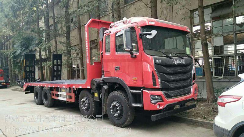 供应国五东风单桥挖机平板拖车厂家直销 可以拉18吨挖机的板车销售电话