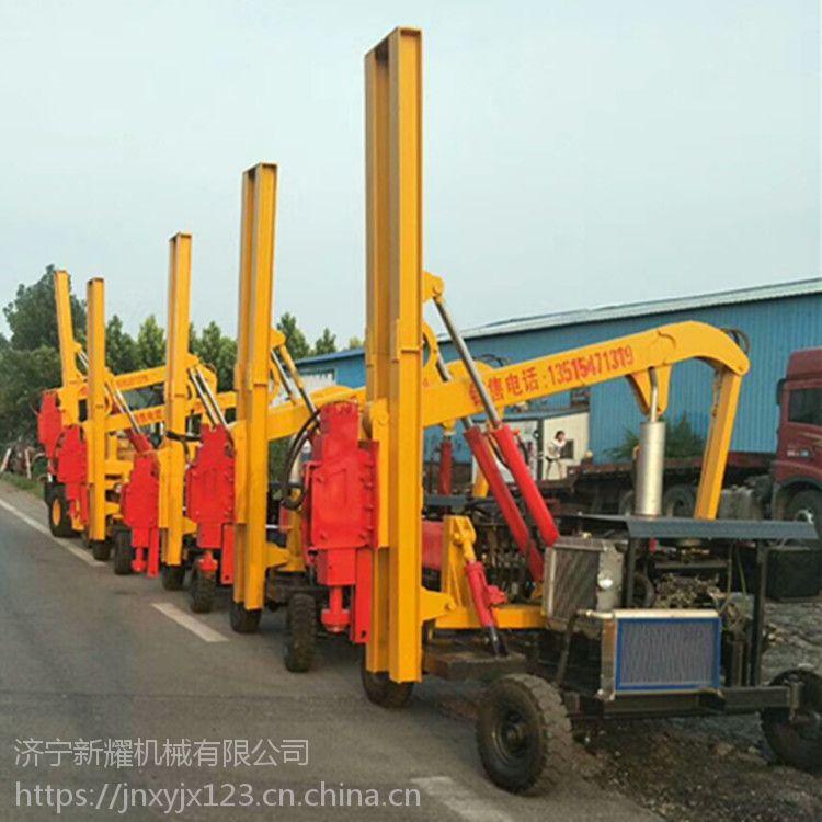 安保工程必备单缸公路护栏打桩机 全液压控制自动升降臂打拔桩机