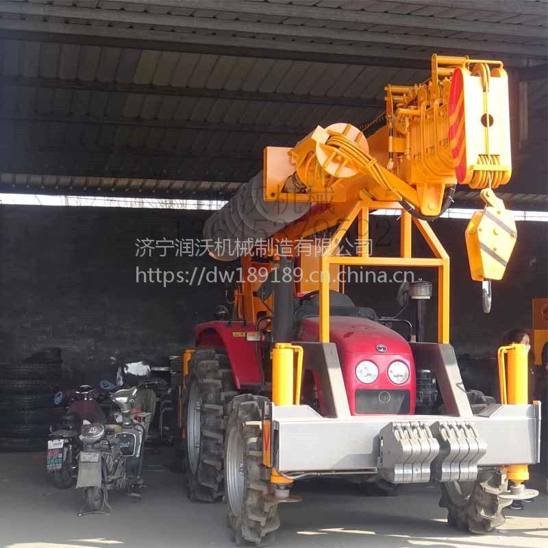 润沃机械 长期供应 高效益吊车打桩一体机 电线杆打桩机 质量有保证