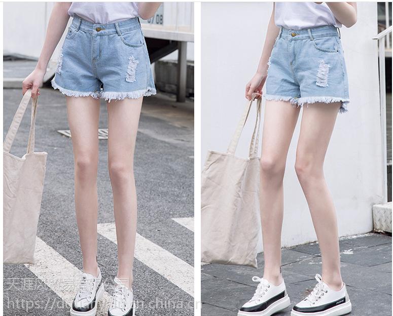 时尚潮流破洞女士牛仔短裤高腰显高显瘦浅色百搭毛边短裤2018新款
