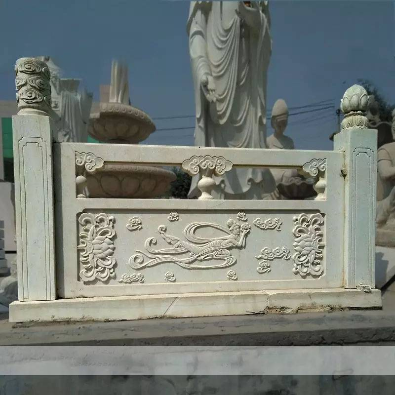 石雕栏板护栏栏杆户外广场装饰浮雕升旗台汉白玉精雕楼梯扶手护栏曲阳万洋雕刻厂家定做