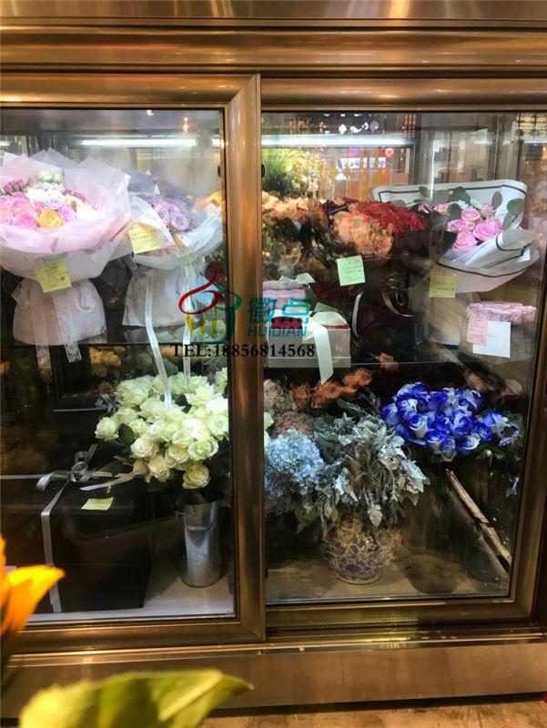 平移玻璃门鲜花保鲜柜,不锈钢烤漆盆栽柜 ,落地式多门鲜花柜