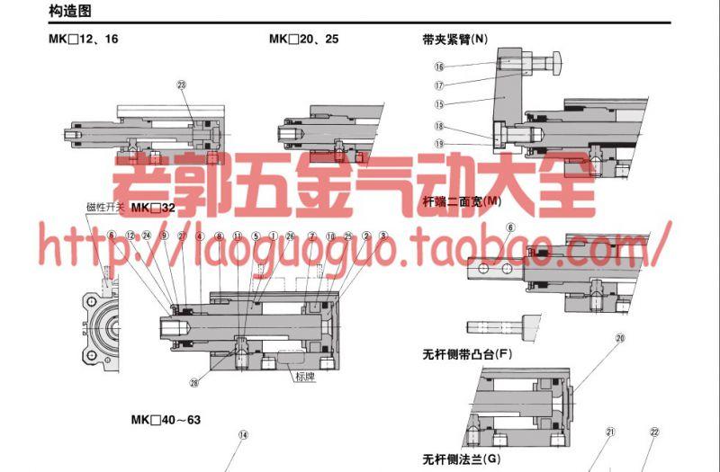全新原装smc 回转夹紧气缸mkb25-20rz mkb25-20lz 转角气缸 新款图片