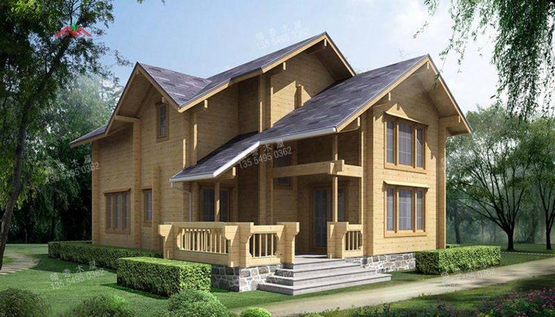 供应厂家直销现代双层井干式度假木屋