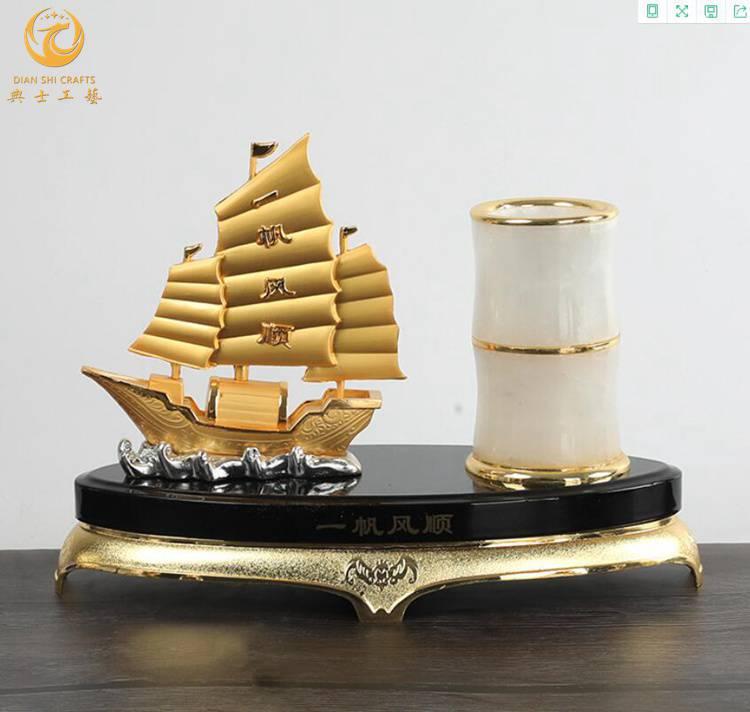 金属帆船礼品,老员工纪念品,退休教师礼品批发,一帆风顺办公摆件