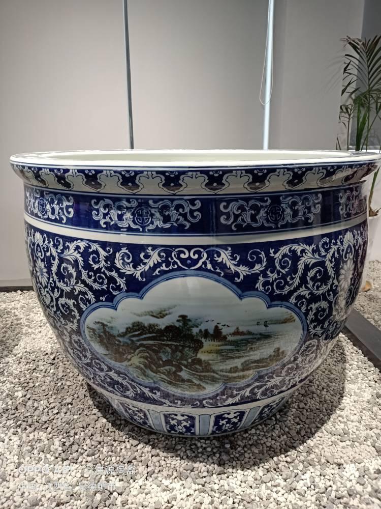订做陶瓷大水缸厂家 手绘青花风水瓷器缸 一米养鱼缸装饰摆件