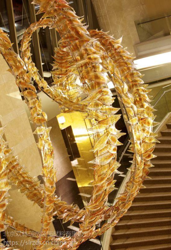 定制酒店大型工程 中式玻璃艺术飞龙吊灯