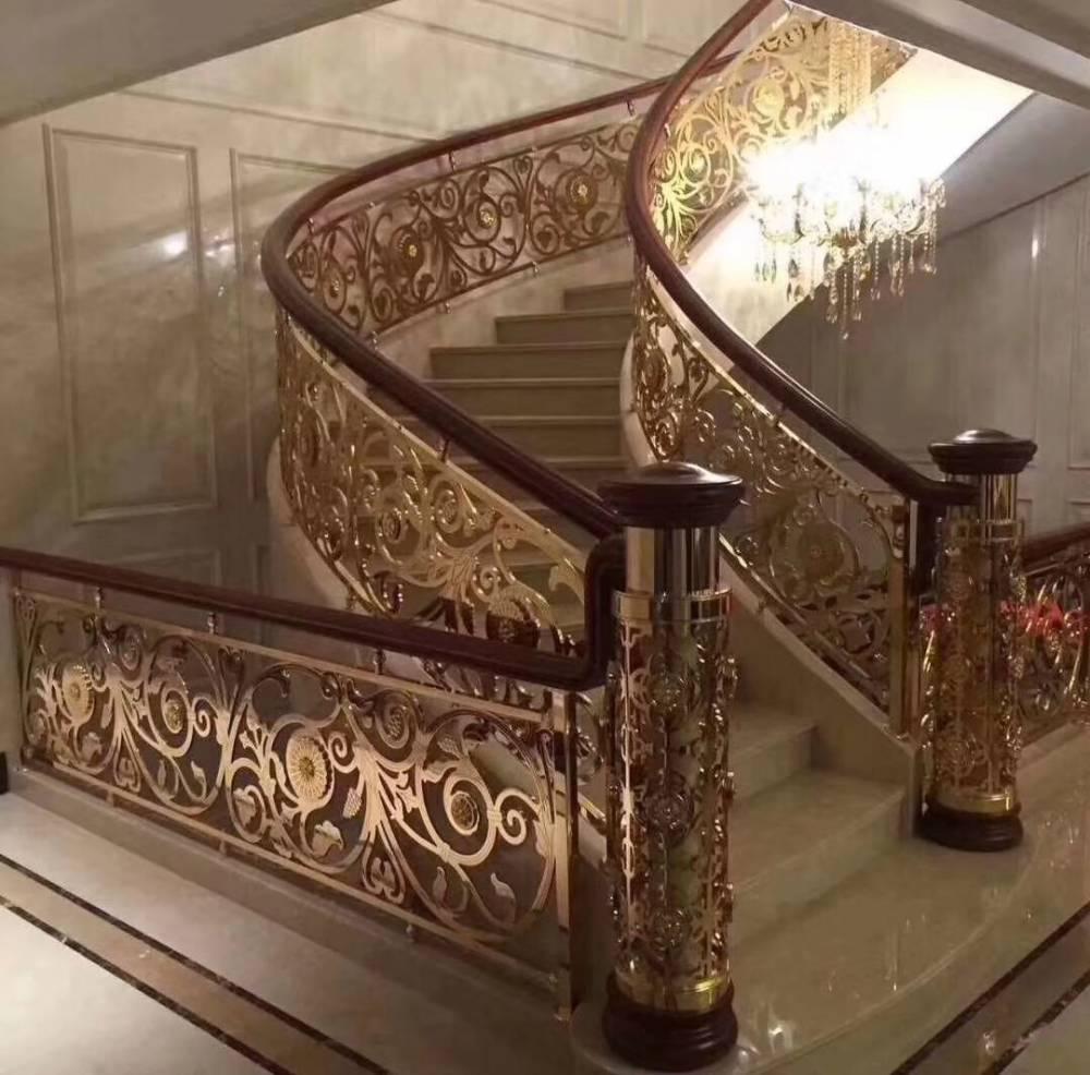 金碧辉煌黄铜雕刻镂空镀金楼梯护栏
