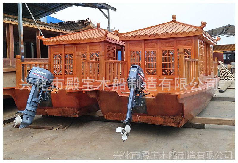 厂家直销小型休闲木船观光船动力可乘坐5-6人木船质保三年