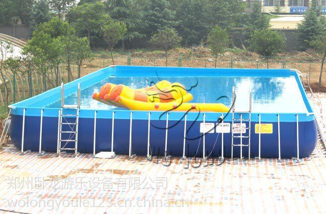 移动水上乐园成功案例充气水滑梯现场经营支架水池、充气移动水池