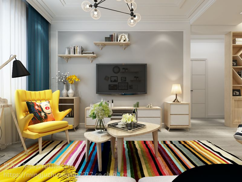 明居装饰打造保利城案例|现代简约装修两室一厅59平米