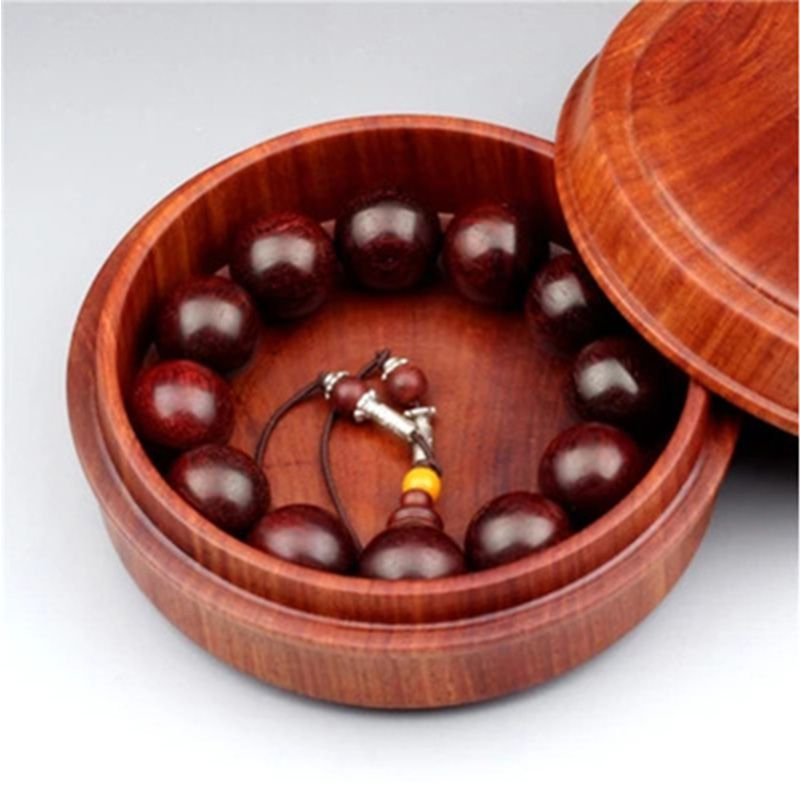缅甸花梨木圆形佛珠包装盒茶叶沉香收纳盒越南红木首饰盒实木质盒