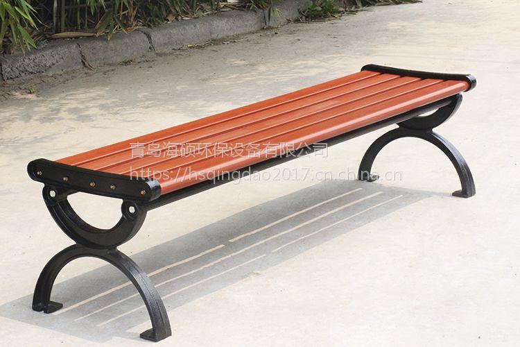 平凳椅批发 户外公园塑木椅子 铸铁脚防腐木椅