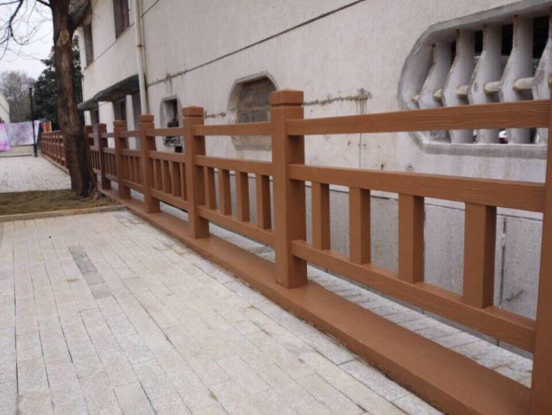 湖北水泥仿木头栏杆 水泥仿木防护栏杆供应商