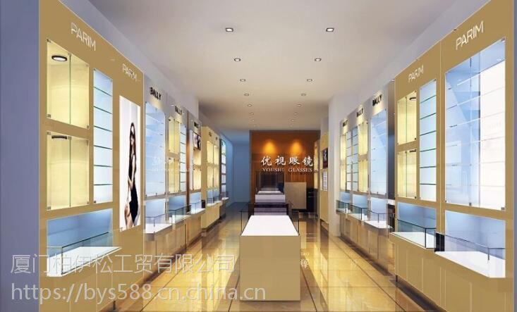 厦门柏伊松眼镜展示柜烤漆柜台定做,玻璃柜矮柜,靠墙高柜1200*400*2400标准柜