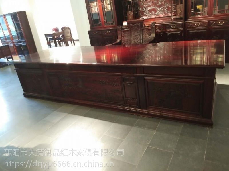 浙江丽水大清御品红木家具批发厂交趾黄檀3.8米豪华书桌2件套