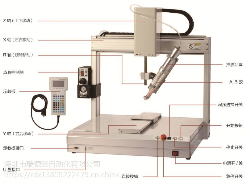 瑞德鑫自动化直销针筒点胶机 5331四轴平台PCB板邦定封胶包邮