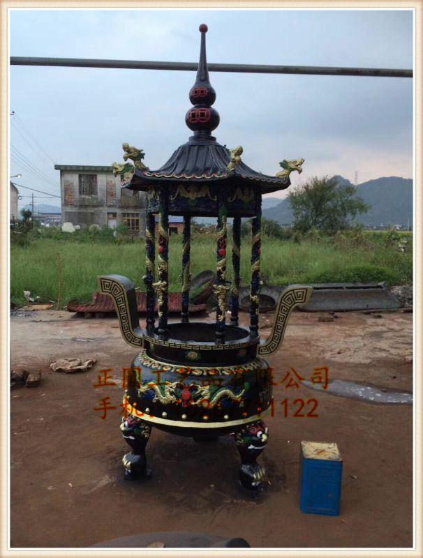 正圆铸铁圆形六龙柱香炉批发,寺庙圆形平口香炉定做