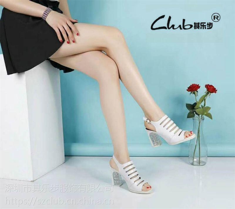 广州时尚女鞋2018夏季新款真皮女凉鞋粗跟罗马鱼嘴鞋镂空女式凉鞋