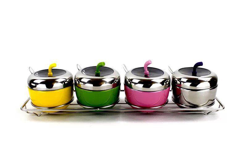 不锈钢创意型苹果调味罐 厨用置物盒调味架 防潮糖罐盐罐供应图片