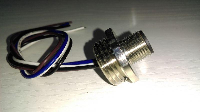 科迎法M12法兰插座,M12针型公头带法兰接插件接近开关,船舶防水工业防尘航空抗干扰插座