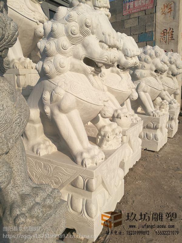 石雕汉白玉石狮子雕刻一对镇宅辟邪瑞兽天安门蹲狮子酒店门口摆件 玖坊雕塑
