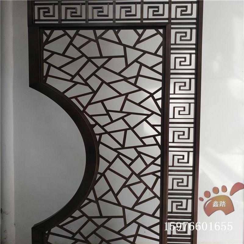 红古铜不锈钢拉丝屏风 板和管相结合焊接效果图