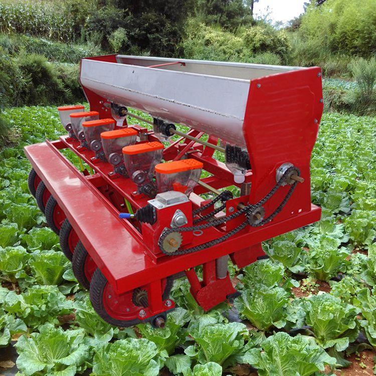 一次一粒拖拉机带六行谷子播种机