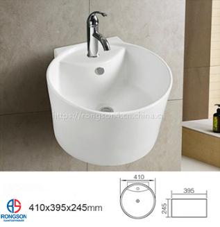 潮州厂家出口工程陶瓷浴室圆形挂墙挂式盆