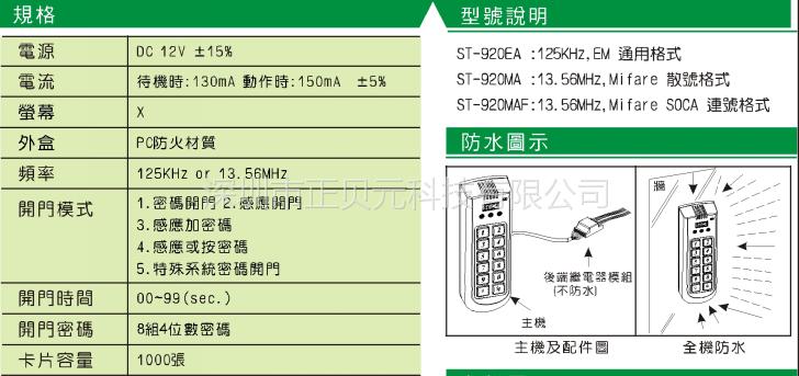 st920门禁 防水型门禁主机 指纹加感应开机 厂家报价