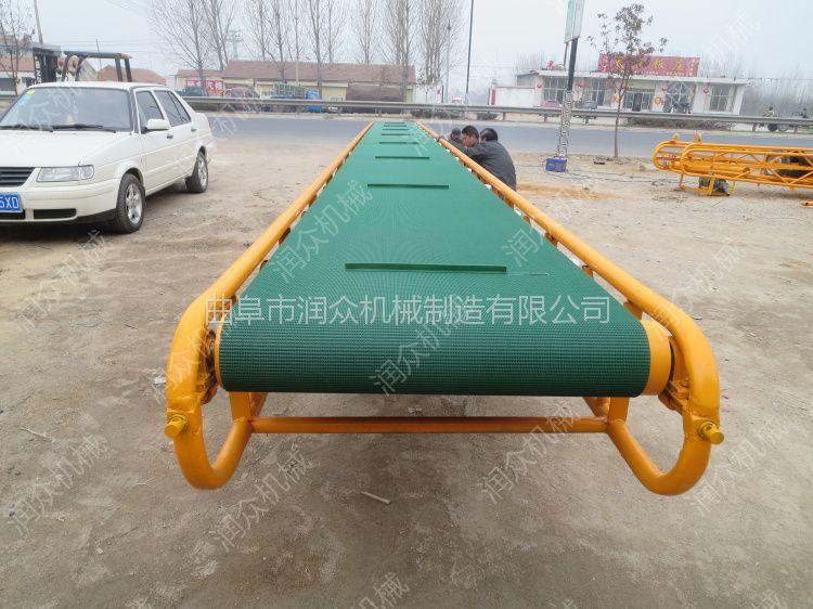 润众料斗皮带机 大角度防滑皮带输送机 砂石运输自动传送带